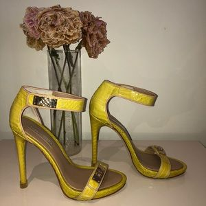 Yellow and gold bcbg heels size 8.5